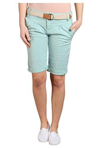 Fresh Made Bermuda femme couleur pastel avec ceinture tressée | Pantalon court élégant de style chino Turquoise