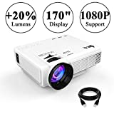 DR.Q Projector, Mini Projector, Upgraded 2500 Lux Video Projector with 170 Inch 1080P Support, Upgraded Lamp Life, Supports HDMI VGA AV USB TF Devices, Home Theater Projector, White.