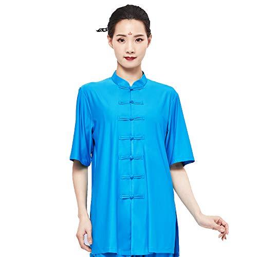 Asdxz tai chi abbigliamento con seta cotone per donna uomo unisex modelli gong fu arti marziali tai chi abiti da arti marziali completi abbigliamento,blue-l