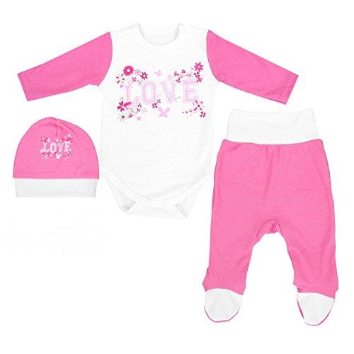 ekleidungsset mit Aufdruck 3 Tlg., Farbe: Love Weiß/Rosa, Größe: 62 (Outfits Kaufen)