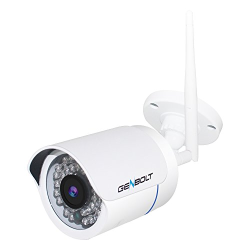 Wlan IP Kamera Überwachungskamera - GENBOLT 720P Drahtlose Netzwerkkamera ONVIF 2 Weg Audio Sicherheitskamera für Außen Outdoor IP66 wasserdichte, Infrarot Nachtsicht Bewegungsmelder, deutsche App
