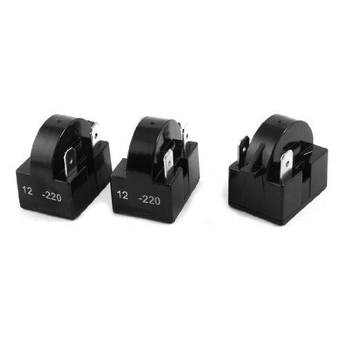 sourcing map Schwarze 12 Ohm 3 Pin PTC Anlasserrelais für Kühlschrank aus Kunststoff,3Stücke de