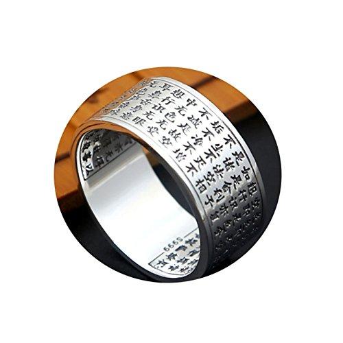 LOUMVE Herren Ring Vintage S925 Sterling Silber 10MM Breite Buddhistischen Schriften Bandringe...