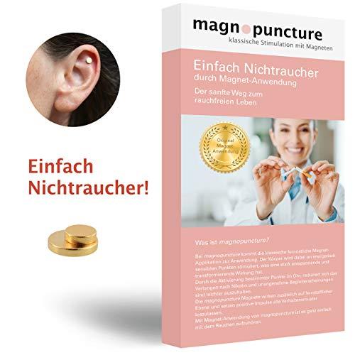 magnopuncture - Anti-Rauch-Magnet, ORIGINAL Magnet-Anwendung, Einfach Nichtraucher - Rauchentwöhnung durch Magnet-Stimulation, EXTRA Stressfrei-Massage-Ring