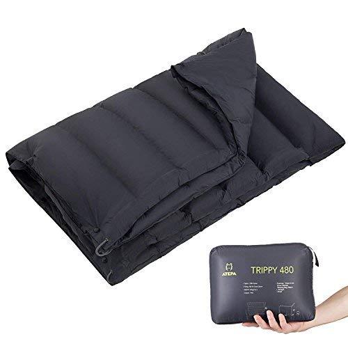 ATEPA Multifunktionale tragbare 3-in-1 warme Daunendecke, Umhang, Schlafsack Ultraleicht für Camping Indoor Outdoor, 179,9 x 134,3 cm, 1,1 lbs Schwarz