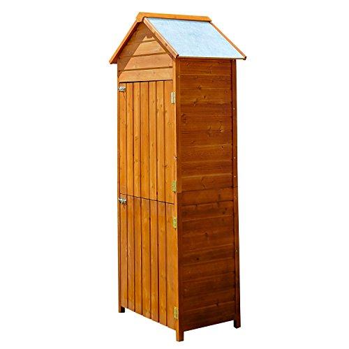 Homcom Armoire de Jardin Remise pour Outils 79L x 49l x 190H cm 2 Portes 2 étagères Toit bitumé étanche Bois pin pré-huilé