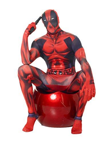 KULTFAKTOR GmbH Marvel Deadpool Morphsuit Lizenzware schwarz-rot L (bis zu 1,80 - Deadpool Kostüm Elasthan