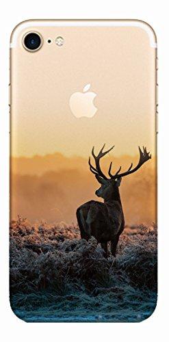 MPPK-Hamburg ® Apple iPhone ® 7 - 4,7 Zoll Schutz Hülle - Case in wunderschönem Design – Stabiles / transparentes PC - Pacific Surfing Wave Hirsch im Sonnenuntergang