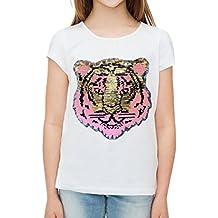 Lentejuela, cara de tigre, camiseta para niñas, manga corta, camiseta de verano