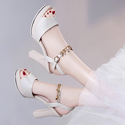 ZPPZZP La sig.ra sandali irregolare con stile Coreano porta poco profonda trapano artificiale a tacco alto 37EU