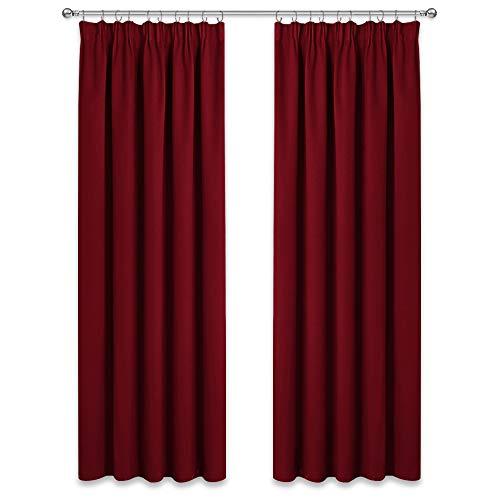 PONY DANCE Gardinen Weihnachten Rot - 2er Set H245 x B140 cm Blickdichter Vorhang mit Kräuselband Gardinen Blickdicht Vorhänge Wohnzimmer Thermovorhang