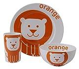 colourful dove - Servizio di stoviglie per bambini in porcellana, motivo leone, 3 pezzi, colore arancione