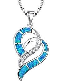 Arco Iris Jewelry Colgante de collar de la mujer de plata de ley con azul y verde ópalo de fuego y circonio cúbico, valentines corazón, cadena de veneciana, 46cm