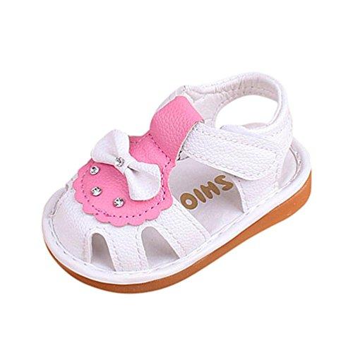 FNKDOR Neugeborene Baby Quietschen Schuhe Quietscher Babyschuhe Bowknot Sandalen(3 Monate/11 cm,Weiß)