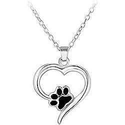 Cdet Colgante de mascota colgante de perro hueco creativo personalizó el collar de diamante del diamante del amor Plata style 1
