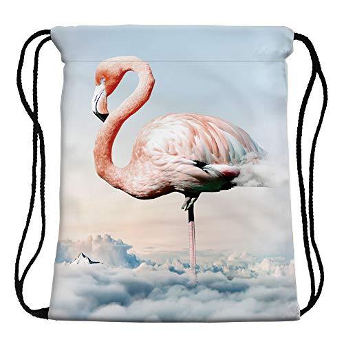 UWOOD Flamingo Muster Kordelzug PE Tasche Turnbeutel Sport Schwimmen niedliche Rucksack Reisen Schule Schulter Geschenk Tasche für Herren Damen Jungen Mädchen Polyester Schule Reise Schulter Rucksack (17)