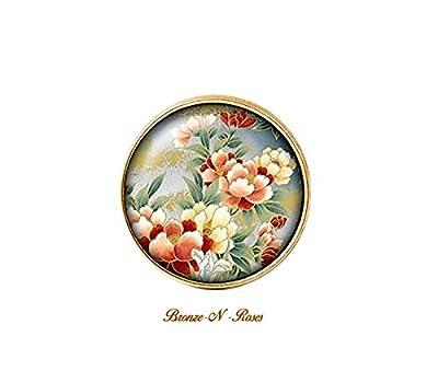 Bague * Fleurs du japon * cabochon bronze beige et rouge asie
