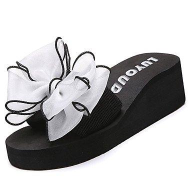 zhENfu donna pantofole & amp; flip-flops Comfort estivo Casual Tessuto Tacco piatto Bowknot arrossendo rosa fucsia Blu Bianco Nero a piedi White