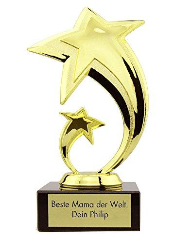 4you Design Stern Award mit Gravur ★ Pokal, Trophäe, Geschenk, Muttertag, Geburtstagsgeschenk, Vatertag, Geschenkidee ★