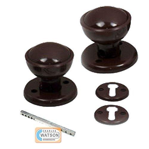 Brown Plastic Round Mortice Door Knob Set - 60mm by Securit -