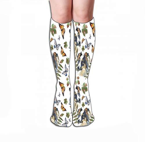 Border Collie Weihnachts-strumpf (Xunulyn Hohe Socken Women Knee High Socks Novelty Compression Socks 19.7