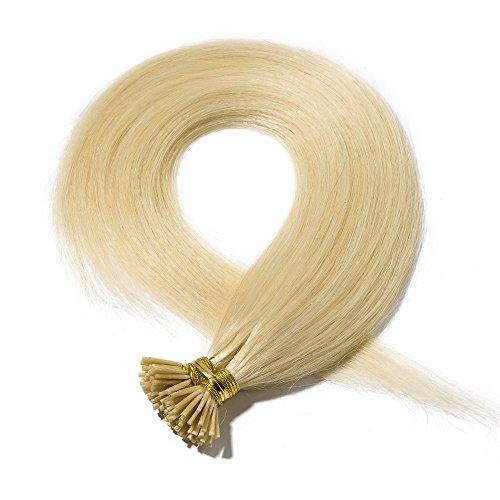 Extension capelli veri biondi cheratina i tip 100 ciocche 50g #613 bleach blonde remy human hair keratina naturali lisci donna bellezza