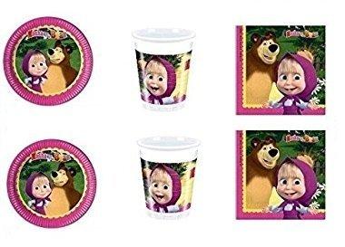 CDC - Kit N ° 2 Fête et Party Masha et orso- (16 assiettes, 16 gobelets, 40 serviettes)