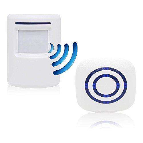 Sensore di movimento wireless, domowin kit di allarme con sensori di movimento infrarossi 1 ricevitore e 1 di sensore allarme pir perfetto per garage, magazzino, casa, ufficio, fabbrica ecc (38 melodie)
