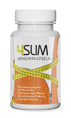 4SLIM Appetitzügler Kapseln | Glucomannan trägt im Rahmen einer kalorienarmen Ernährung zu Gewichtsverlust bei | vegan, hochdosiert, 100% pflanzlich | Schnell & einfach einzunehmen | 60 Pillen