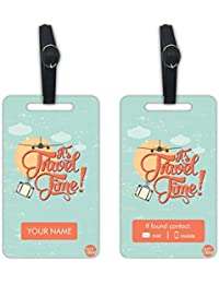 Personalized Designer Luggage Travel Baggage Tags From Nutcase - SET OF 2 TAGS - IT'S TRAVEL TIME