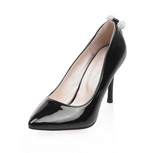 Adee Damen Sexy Patent Leder Pumpen Schuhe Schwarz