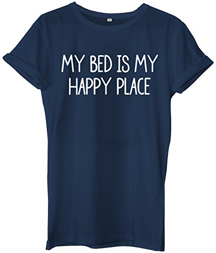 My Bed Is My Happy Place Unisex Ladies Womens Mens Hipster Slogan T-Shirt-X-Large-Navy slogan funny clothing joke novelty vintage ladies boy boys t-shirt t-shirts shirts fashion cool geek tumblr Zoella Alfie Deyes Blogger day for him for her brother sister mum mummy mother dad daddy father birthday idea ideas gift christmas present 80s 90s celebrity music cara delevinge tv film movie