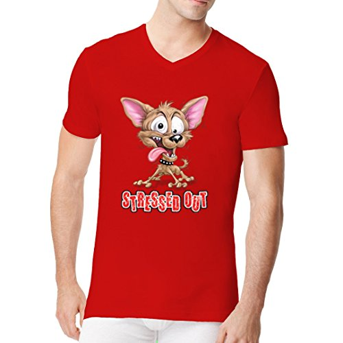 Fun Sprüche Männer V-Neck Shirt - Stress Dog, durchgeknallter Hund, Comic Style by Im-Shirt Rot
