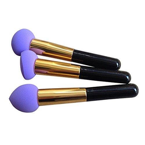 3 Unterschiedliche Form Prosch?nheits Flawless Makeup Blender Foundation Puff Schw?mme kosmetisches Werkzeug, Lila - 2