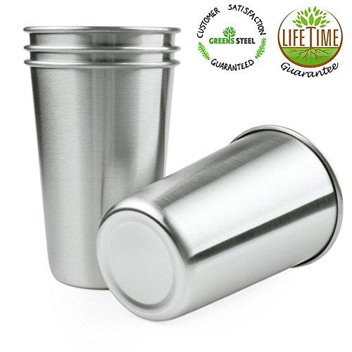 4er SET 17 oz Edelstahlbecher Edelstahltasse Stainless Steel Metal Drinking Cups - 18/8 Lebensmittelechter Edelstahl für Campingbecher