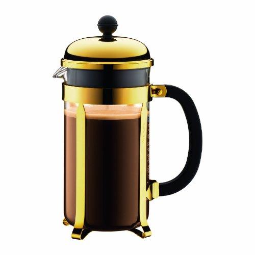 Bodum Chambord Kaffeebereiter 8 Tassen mit Metallrahmen, Edelstahl, Gold, cm, 24 x 50 x 27.2 cm, 1 Einheiten