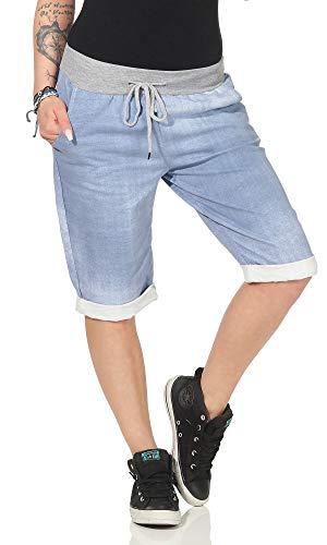 cleostyle Kurze Damen Bermuda, leichte luftige Hose für den Sommer, kurzer Jogger für Freizeit und Strand 9 (Blau/Uni)