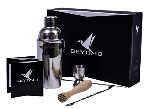 Beyond Cocktail Shaker Set, Stainless Steel Cocktail Mixer Shaker Cocktail Set with Strainer, Jigger, Spirit Measure, Stössel, Spoon – Barware Gift Boxed Cocktail Mixer Bar Set Alcohol Martini Cocktails