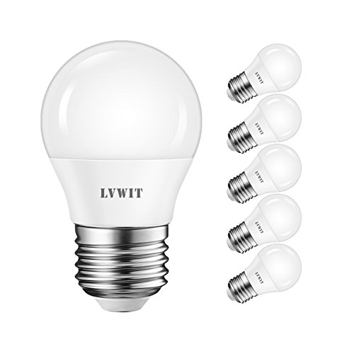 LVWIT Bombillas LED G45 E27 (Casquillo Gordo) - 5W equivalente a 40W, 470 lúmenes, Color blanco frío 6500K, No regulable - Pack de 6 Unidades.