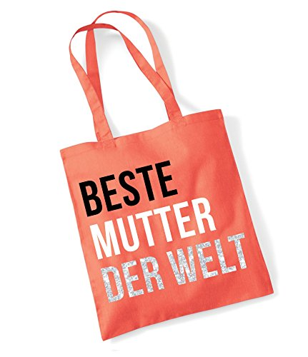 Edward Sinclair 'Beste Mutter Der Welt Coral Tote Bag with Black, White & Silver Sparkling Glitter Print (Bag Tote Coral)