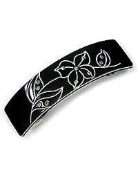 Avalaya Pasador de pelo acrílico negro/blanco con cristal acrílico en tono plateado – 80 mm de largo