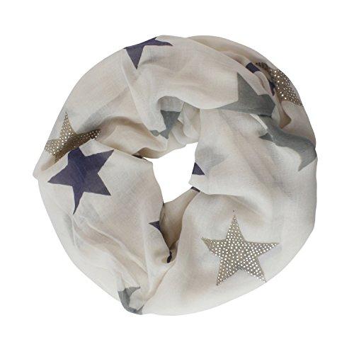 Glamexx24 Nuova Collezione Sciarpa da donna Tubolare con motivi Stella foulard lungo circolare per tutte le stagioni