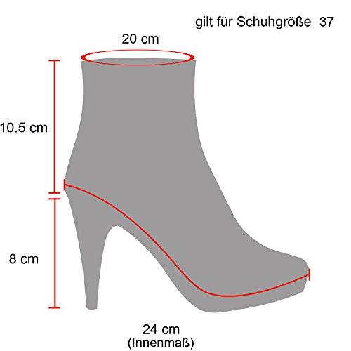 Stiefelparadies Damen Stiefeletten Chelsea Boots Leder-Optik Schuhe High Heel Plateau Booties Profilsohle 125269 Hellgrau Grau 40 Flandell