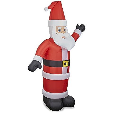 oneConcept Santa XXL Babbo Natale Gonfiabile Illuminato Decorazione Natalizia Santa