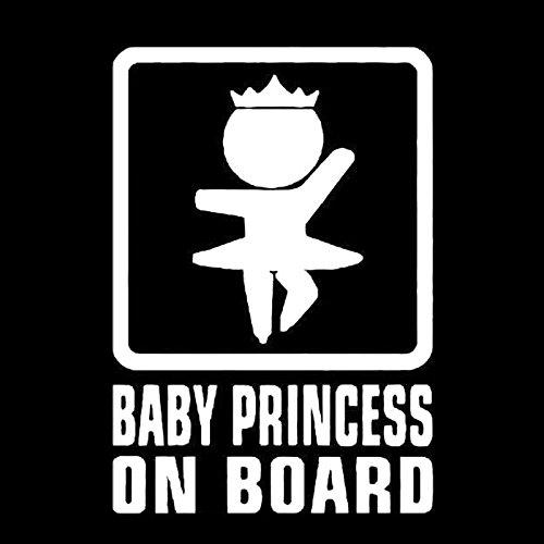 Auto Aufkleber Baby on Board weiß 16x11cm groß lustig cool Car Sticker Mädchen Princess