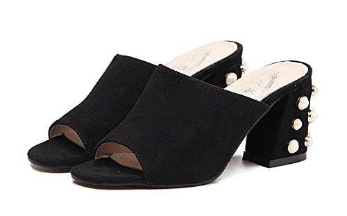 NARUX Damen Peep Toe Pumps Sommer High-Heel Sandalen gezogene weibliche Sandalen Wildleder Perlen Schuhe Schwarz