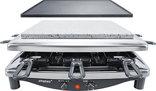 Steba RC 3 plus chrom Raclette, Made in Germany, für 8 Personen, 1450 Watt, schwarz/chrom