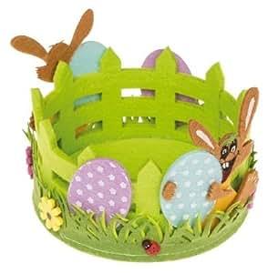 Idena 260234 Corbeille en feutrine pour décoration de Pâques avec lapin et œufs