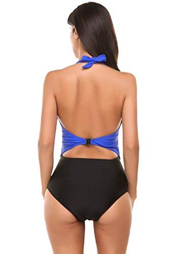 Avidlove Tankini Damen Badeanzug Monokini Einteiler One Piece Bademode Mesh-Patchwork für Damen Figuroptimizer Strand Schwimmanzug Bikini Bandeau Stil 3: Hellblau