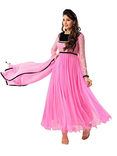 Clickedia Women's & Girl's Heavy Net & Brasso Pink Anarkali Suit With Dupatta  available at amazon for Rs.499